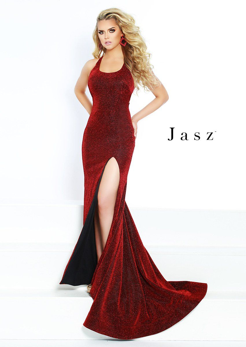 feb8de4695 Check out the deal on Jasz Couture 6412 Scoop Neck High Slit Prom Gown at French  Novelty