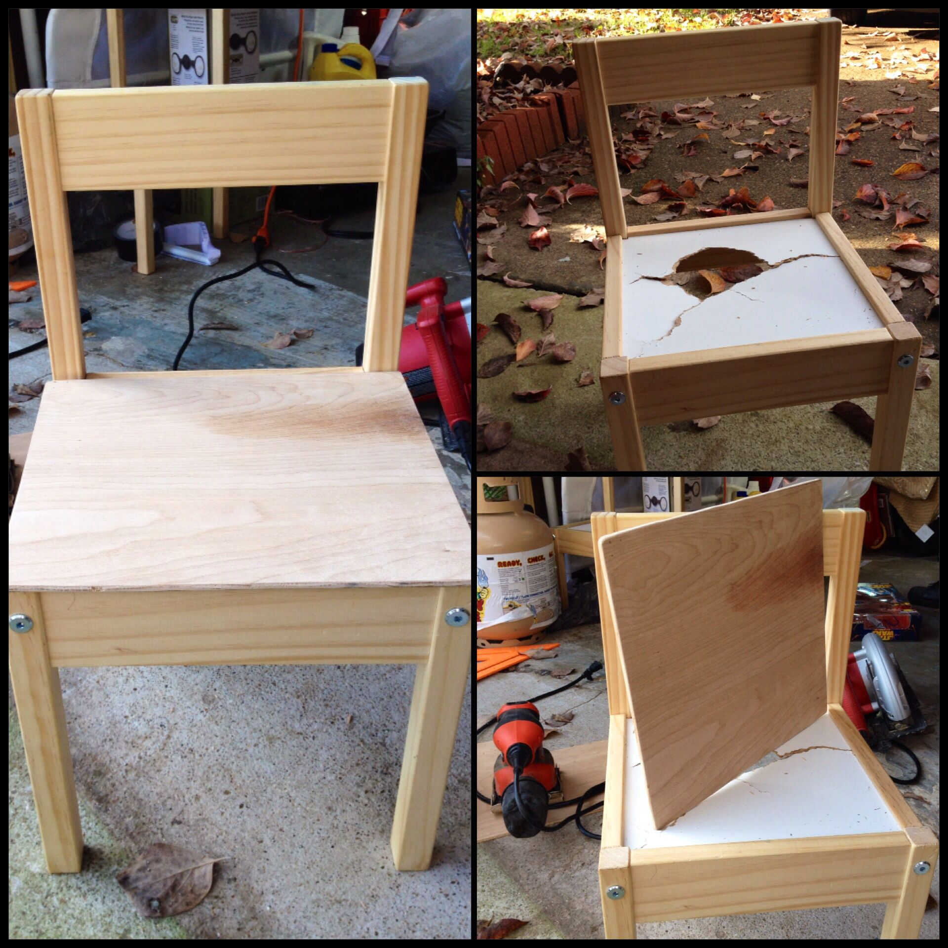 Chair Made Of Particle Board ~ How to fix ikea latt child s chair from table and