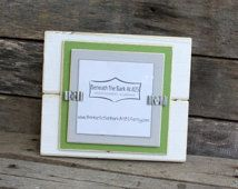 Picture Frame - Holds a 4x4 Photo - Distressed Wood Edges - Double Mats - White, Asparagus Green & Light Gray