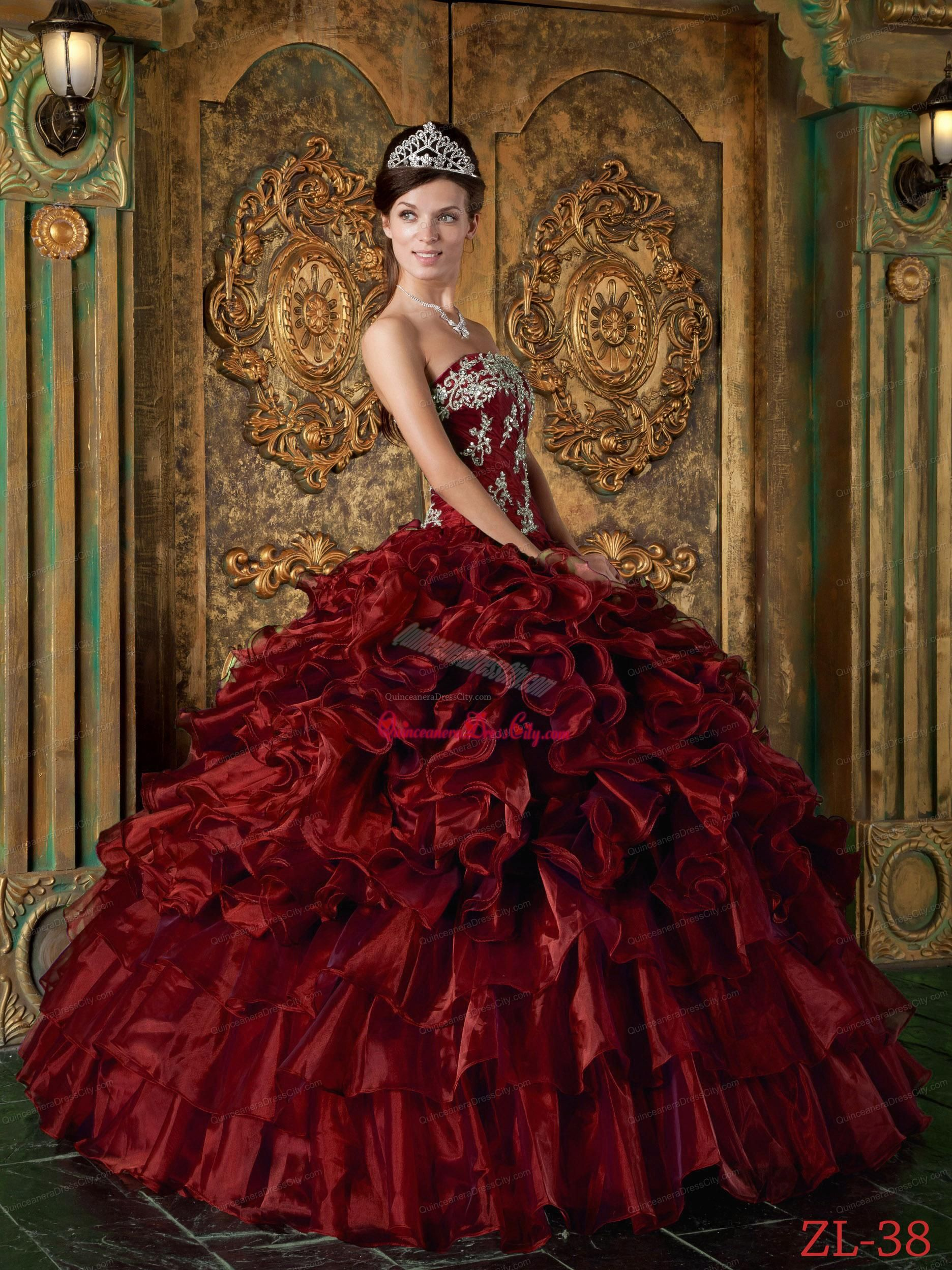 9a6c02ac382 Wine Red Ball Gown Strapless Floor-length Organza Ruffles Quinceanera Dress.  triumph. Loading zoom