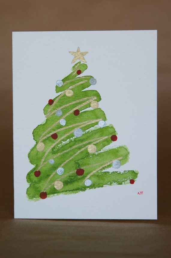 Weihnachtsbaum Gemalt.One Trees Christmas Watercolor Card Original Painting Basteln