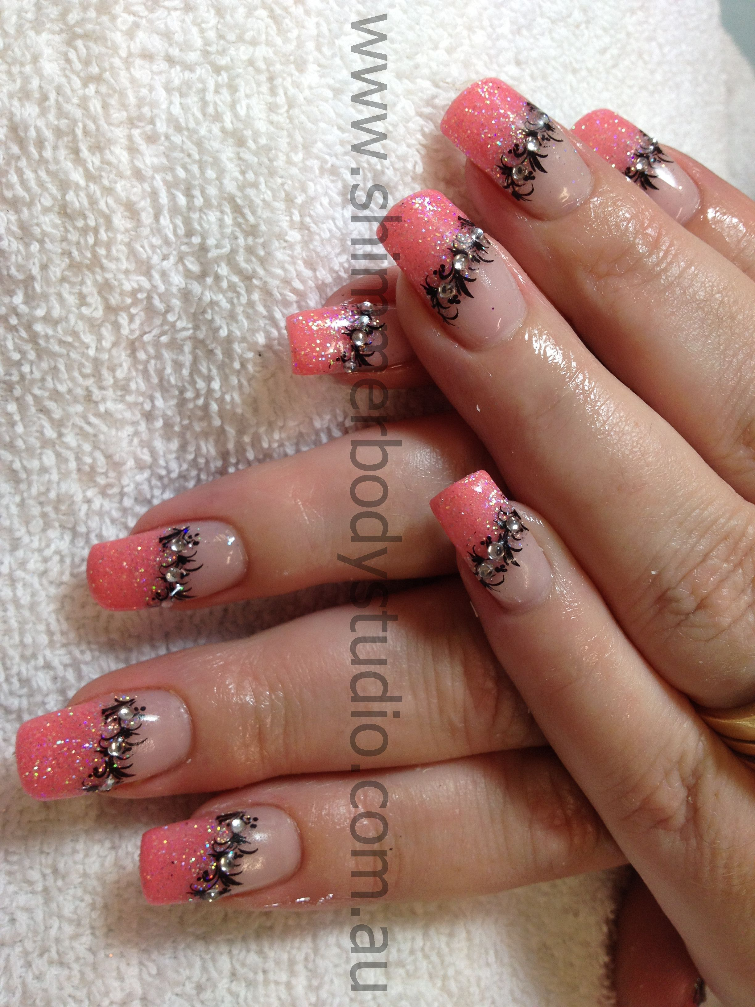 Gel nails glitter french nails coral nails konad stamping nail gel nails glitter french nails coral nails konad stamping nail art by shimmer prinsesfo Images