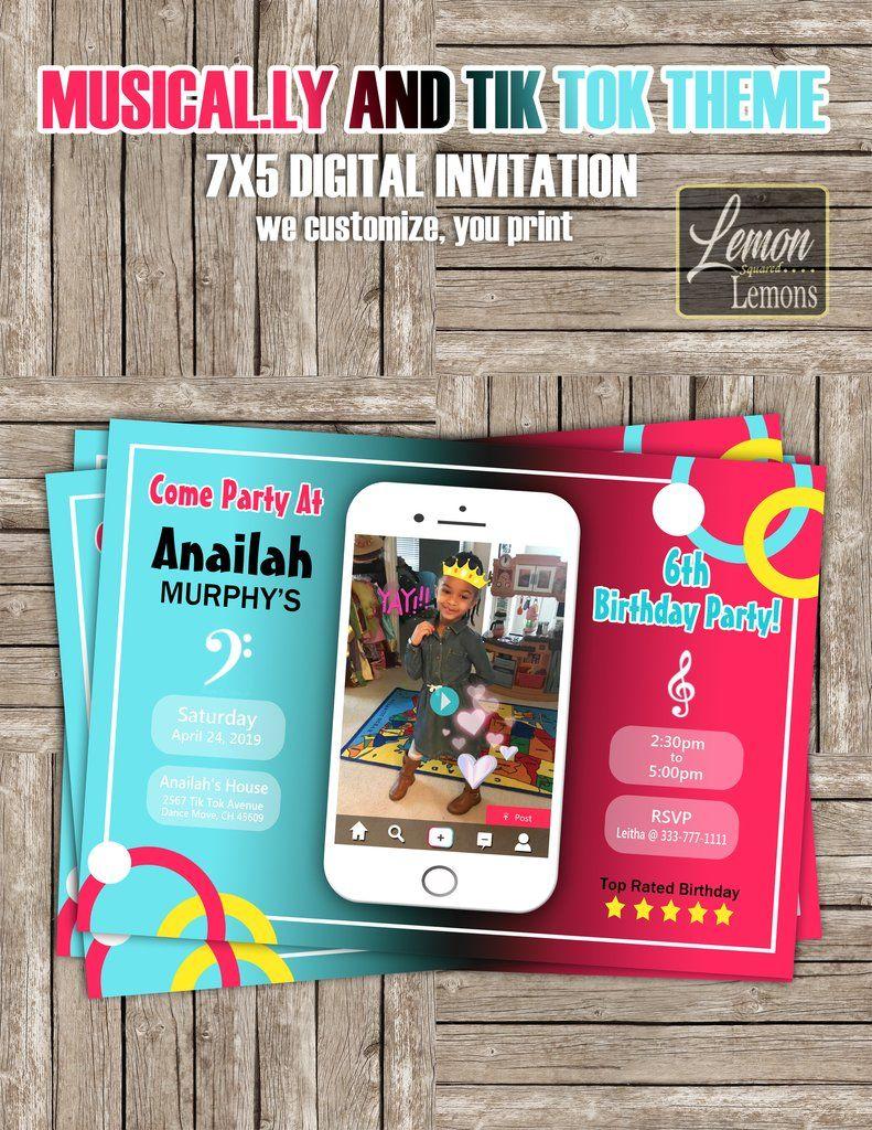 Tiktok And Musical Ly Theme Invitation Digital Invitations Invitations 10th Birthday Parties