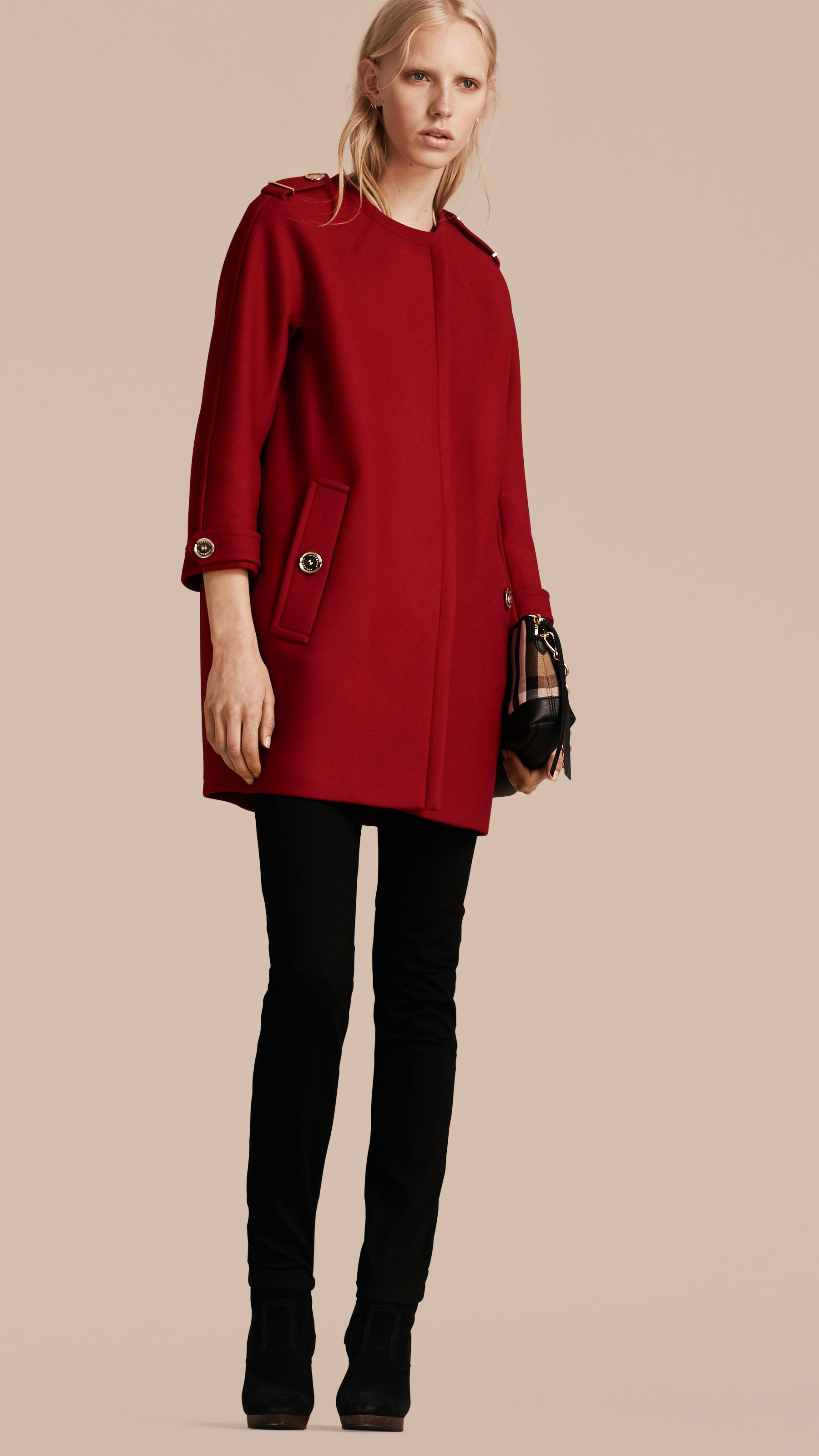Technical Wool Cashmere Collarless Coat in Parade Red | Coats ...