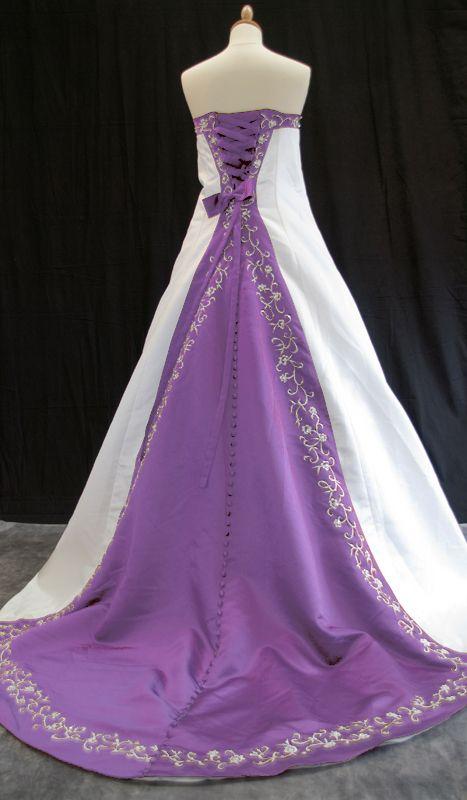 Beautiful White Lavender Wedding Gown Purple Wedding Dress