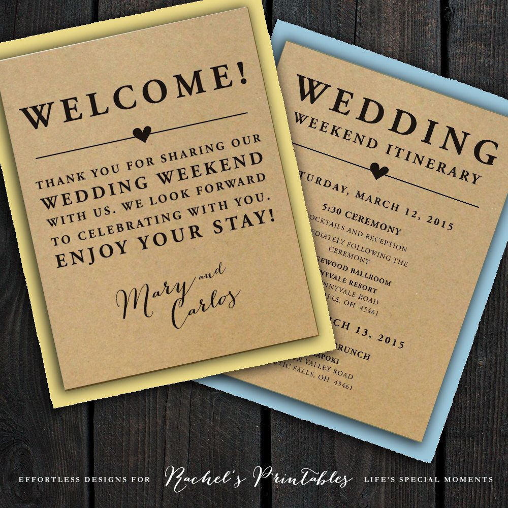 Wedding Welcome Note Itinerary Double Sided Custom Printable Bag Tags Notes Hotel Bags