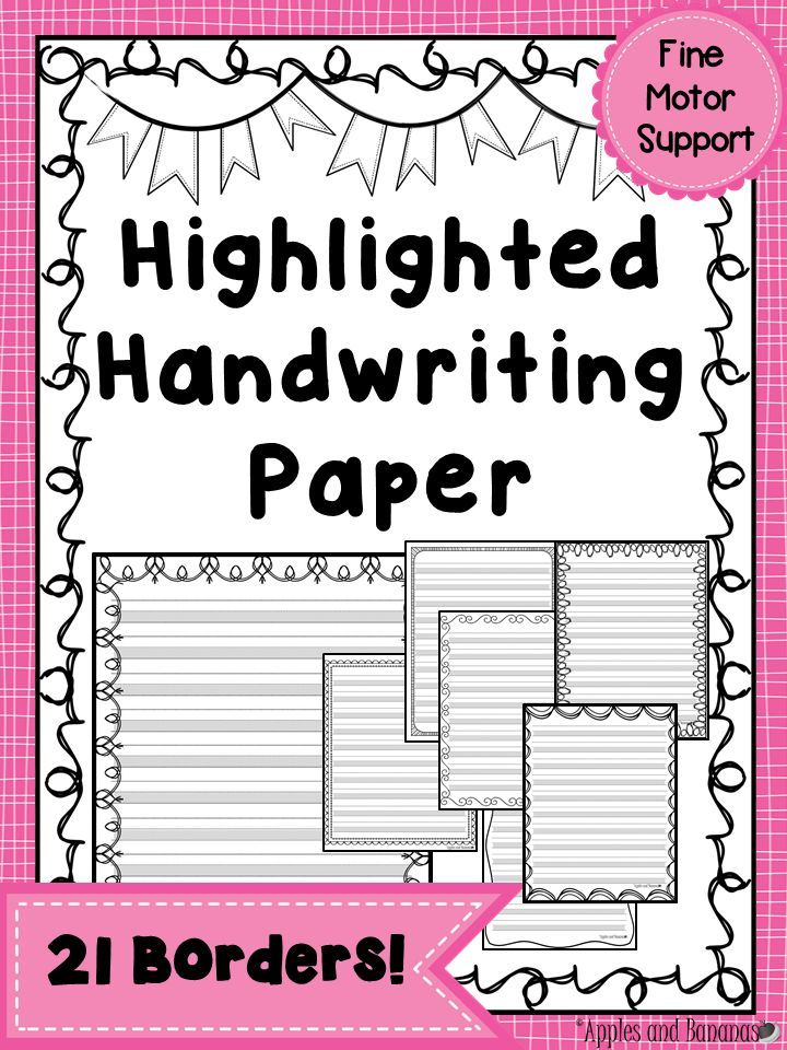 Writing Paper - Highlighted Handwriting Stationary Handwriting - horizontal writing paper