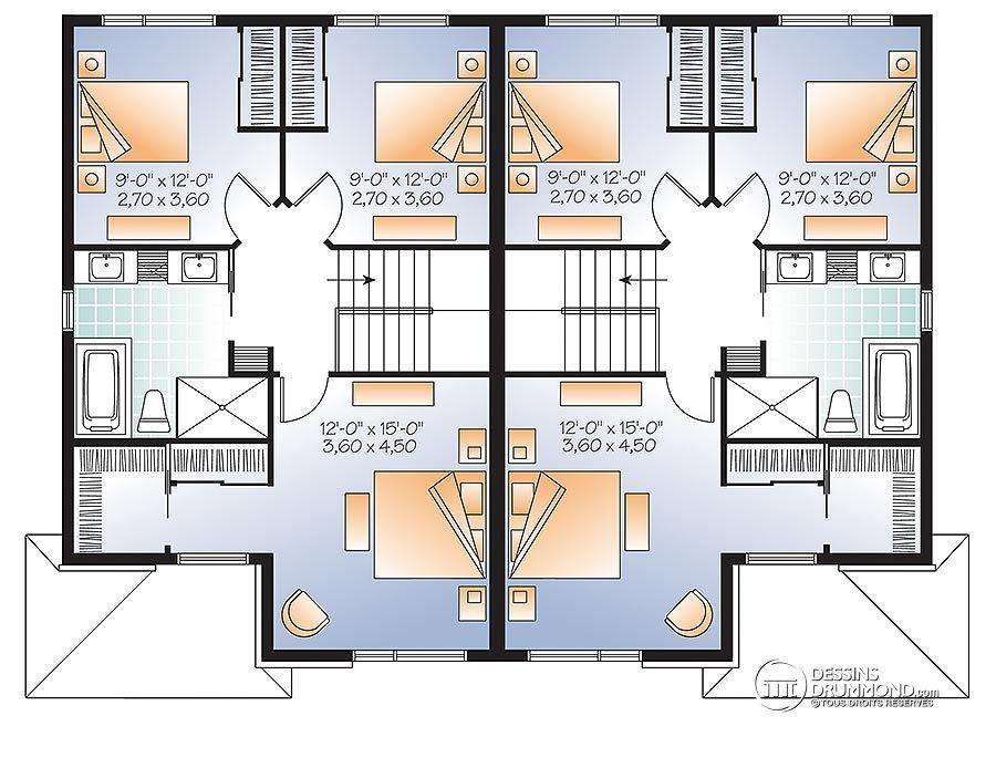 Détail du plan de Maison multi logements W3060 Plan design - site pour plan de maison