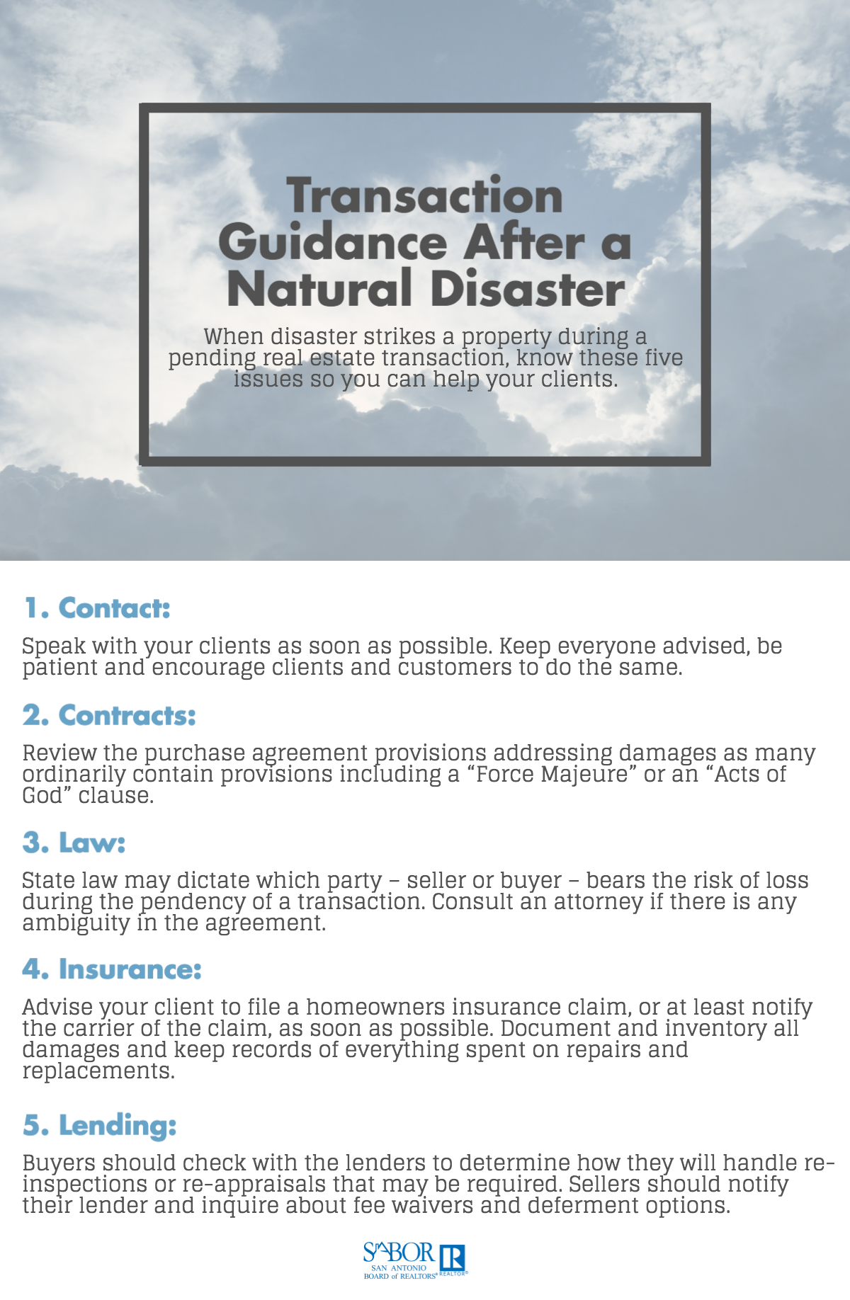 When Disaster Strikes A Property During A Pending Real Estate Transaction Know These Five Issues So You Can Help Your Natural Disasters Disasters Infographic