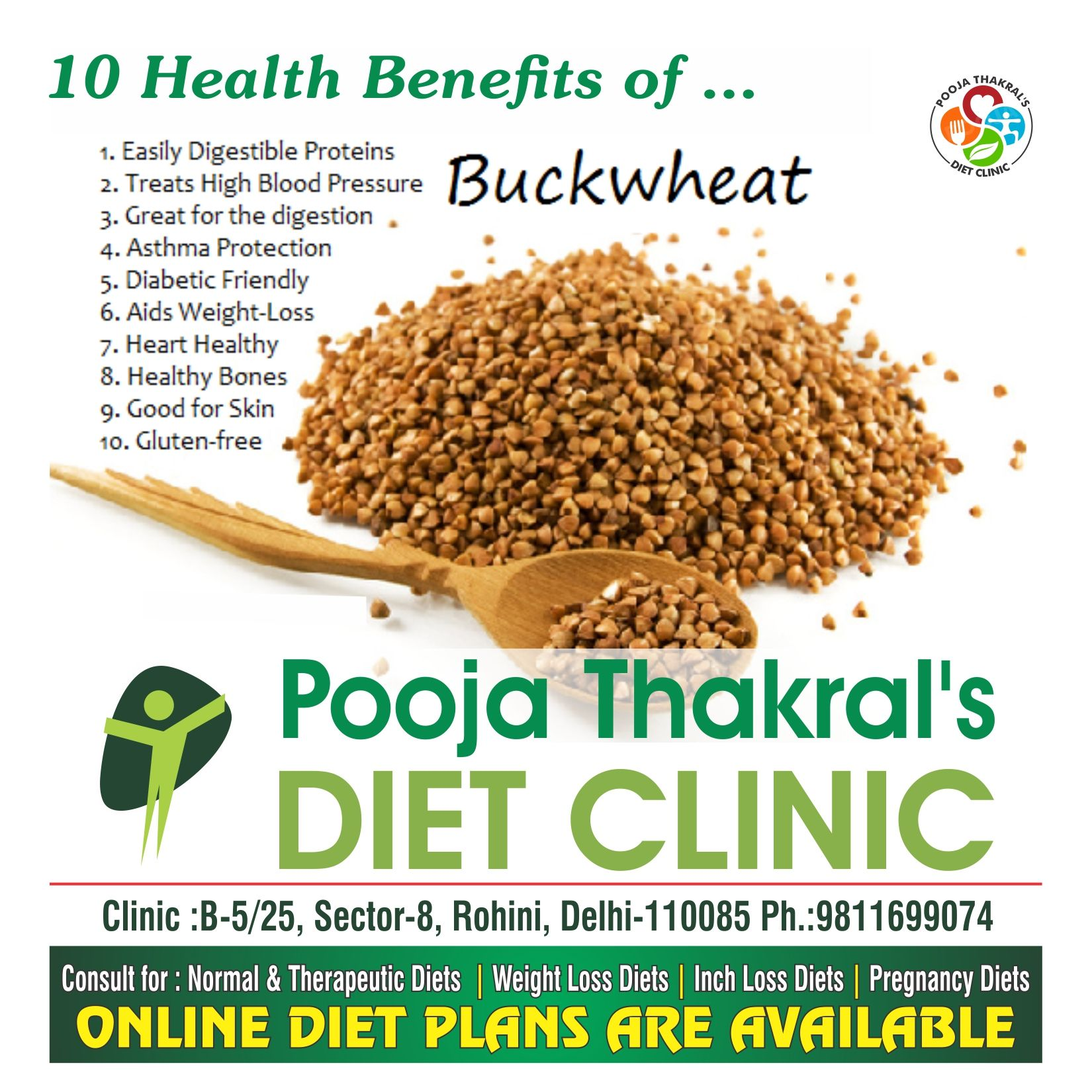 10 Health Benefits Of Buckwheat By Dt Pooja Thakral In 2020 Nutrition Recipes Health Healthy Bones
