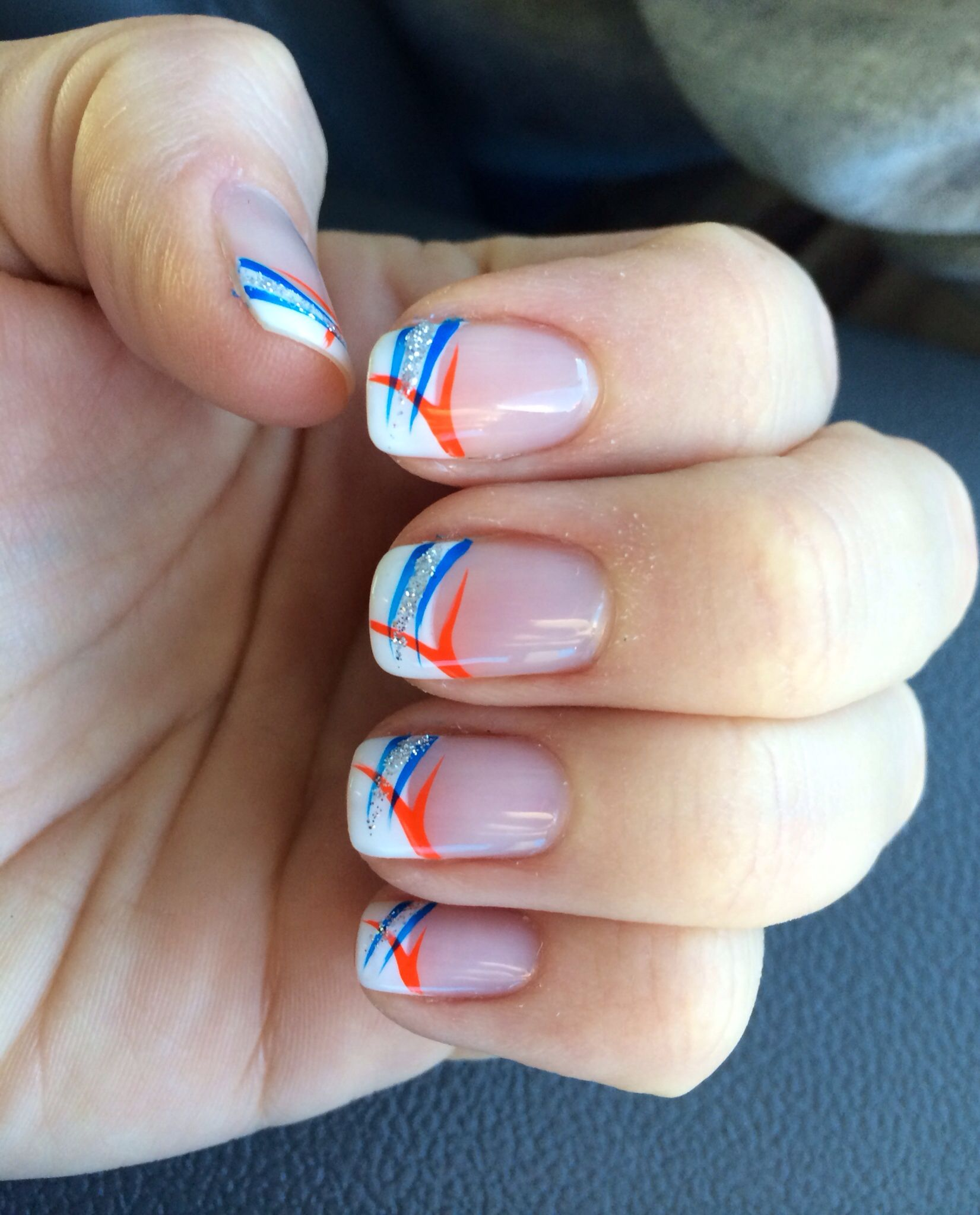 Go broncos shellac nail art broncos nails pinterest