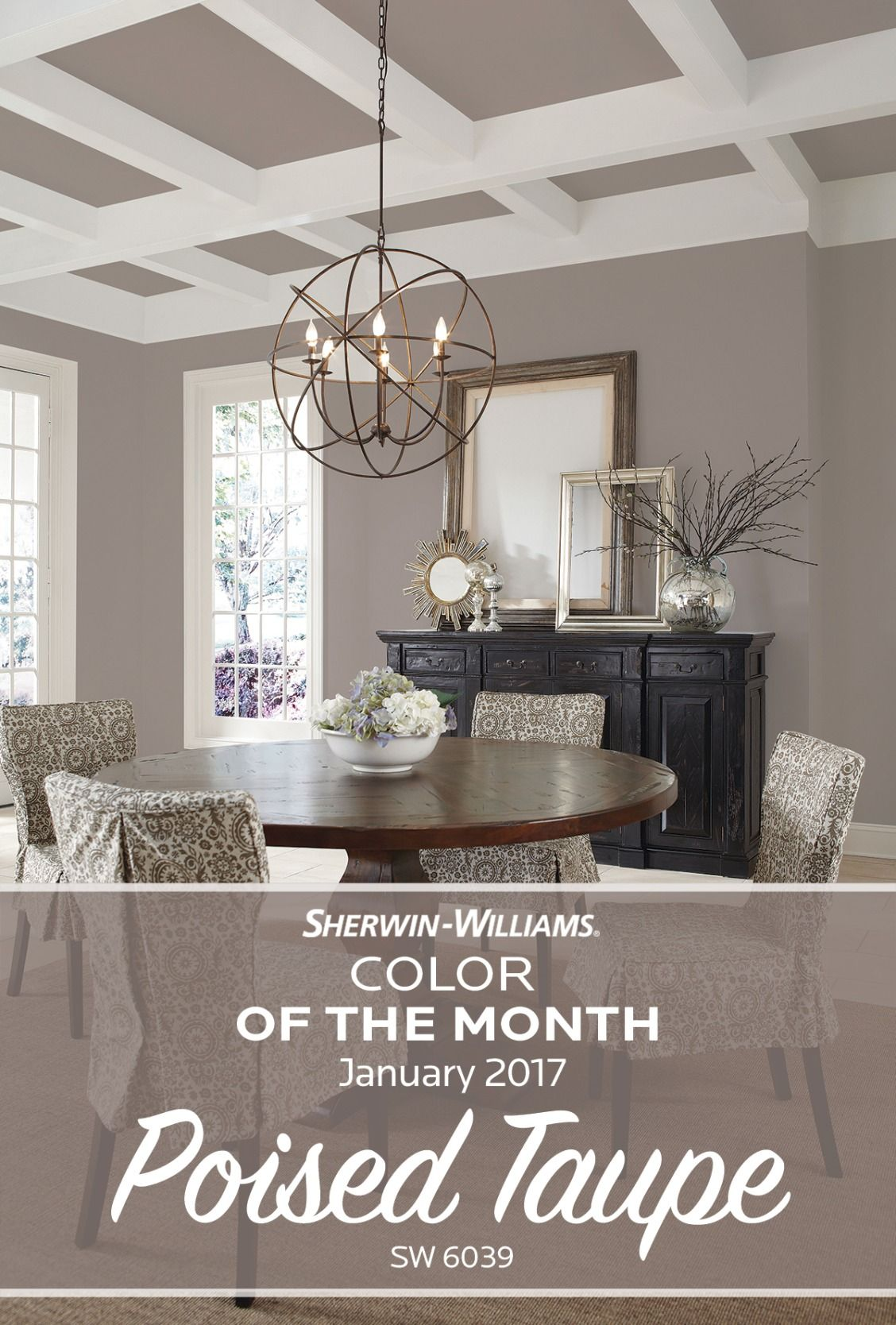 Paint Ideas For Living Room 2017 Window Treatment Start The New Year With A Touch Of Color Our Sherwin Williams Month January Poised Taupe Sw 6039 Strikes Fine Balance