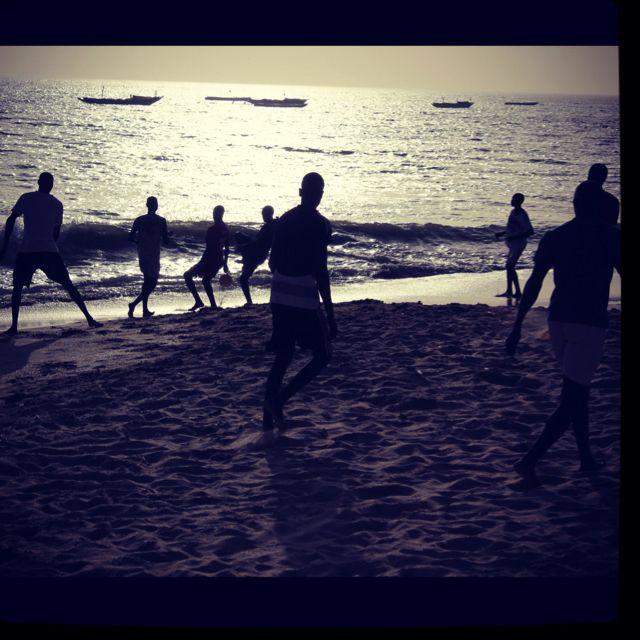Football at the beach