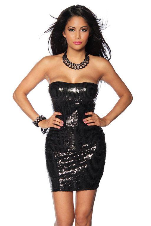 Pailletten-Bandeau-Kleid, schwarz   Damenmode   Pinterest   Bandeau ...