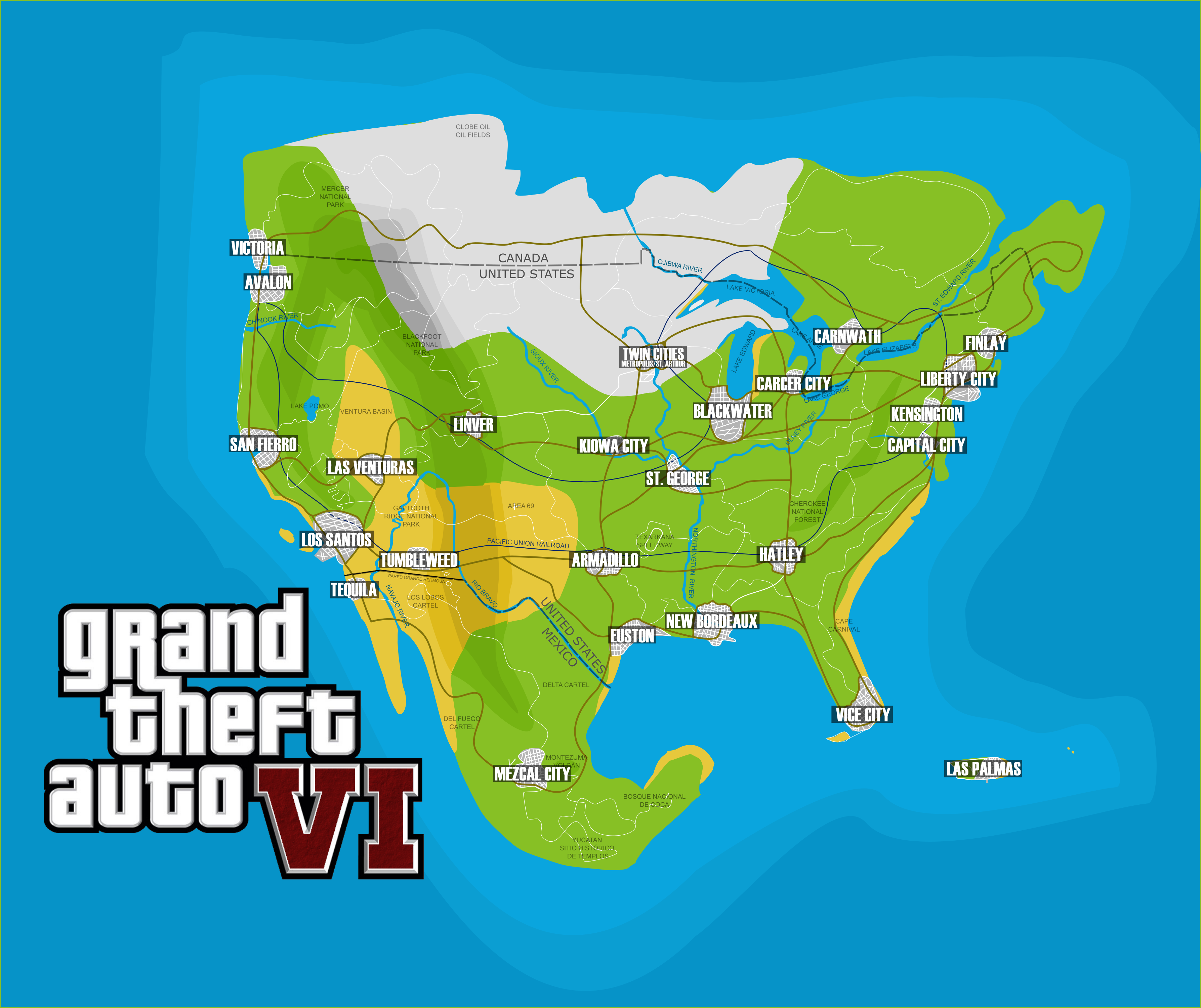 GTA VI Concept Map [OC] | gaming | Pinterest | Gta vi, Gta and Grand ...