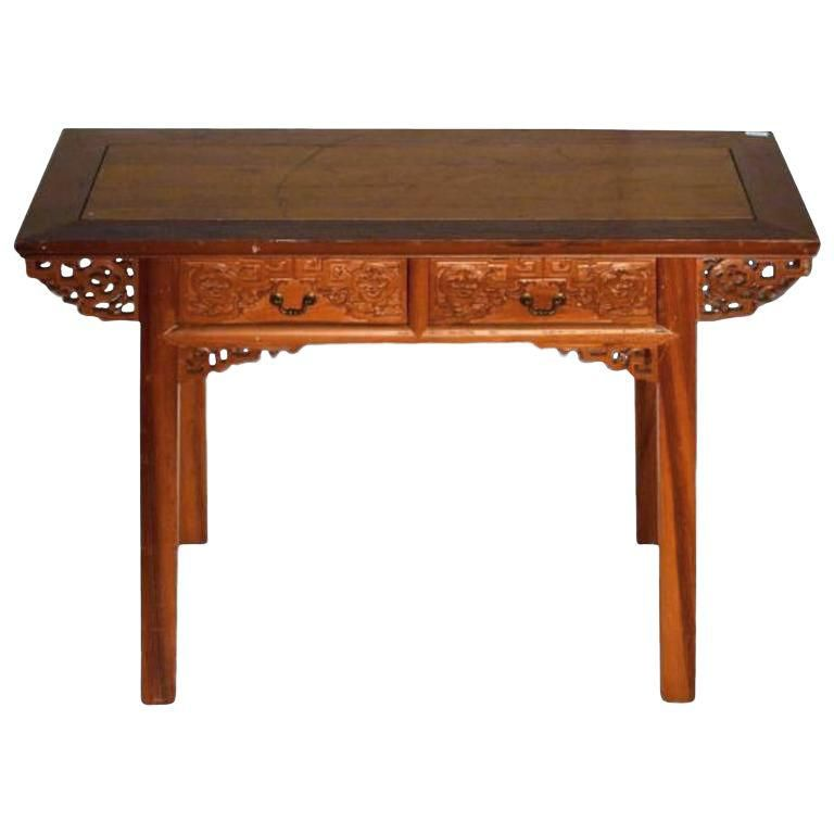 Antique Desk With Carved Frieze And Two Drawers From 19th Century China In 2020 Antique Desk Antiques Antique Writing Desk