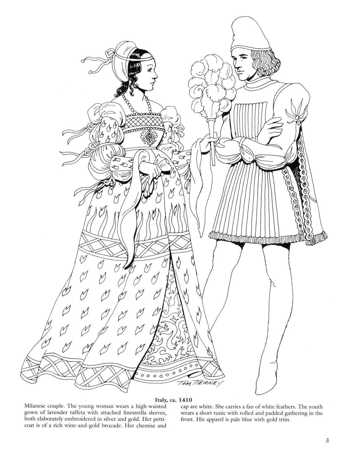 Renaissance Fashions Coloring Book Reneszansz Tortenelem Es Ruhazat
