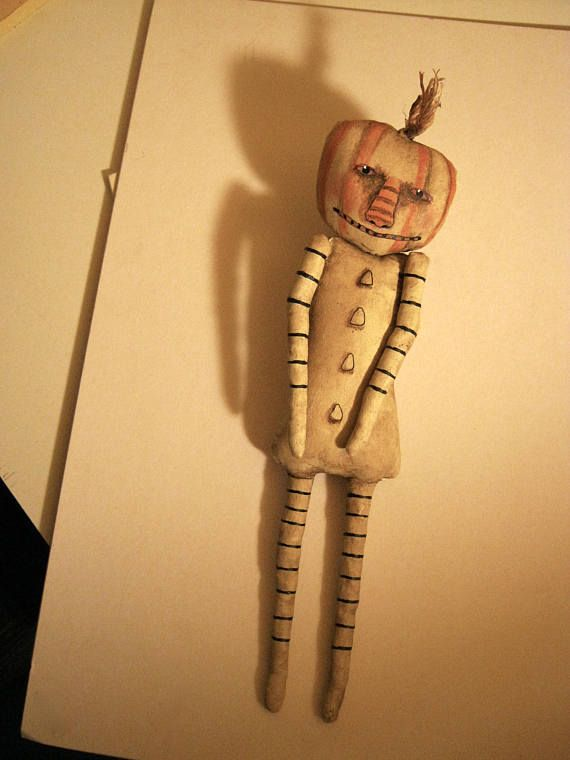 halloween pumpkin art doll, sandy mastroni , creepy skinny, stripes ...