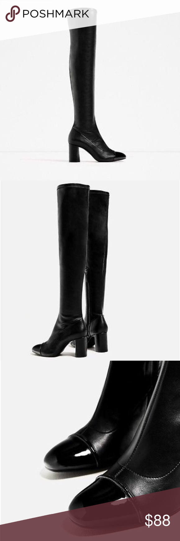 5fab3a8a109 Zara Black Thigh High Boots Amazing Zara black stretchy over the knee    thigh high boots