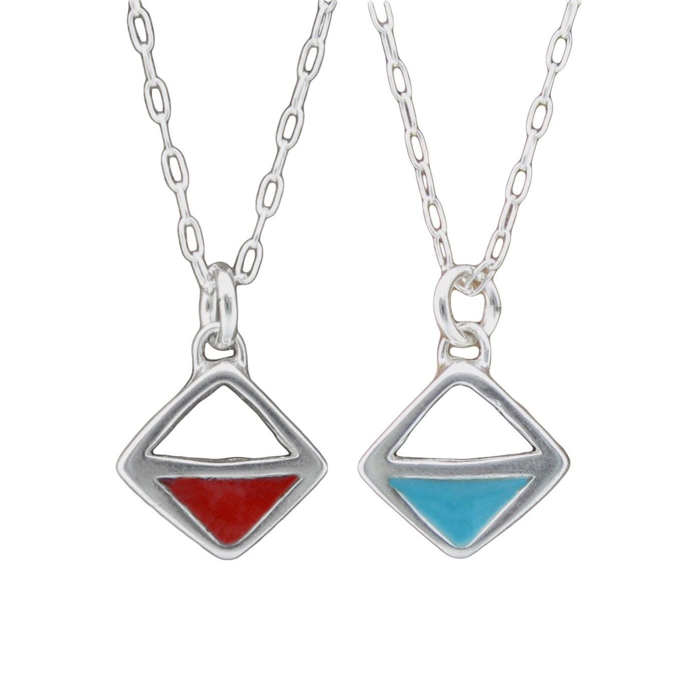 Red and Turquoise Diamond Necklace - Reversible Silver and Enamel Pendant by marmarModern on Etsy https://www.etsy.com/listing/270749521/red-and-turquoise-diamond-necklace
