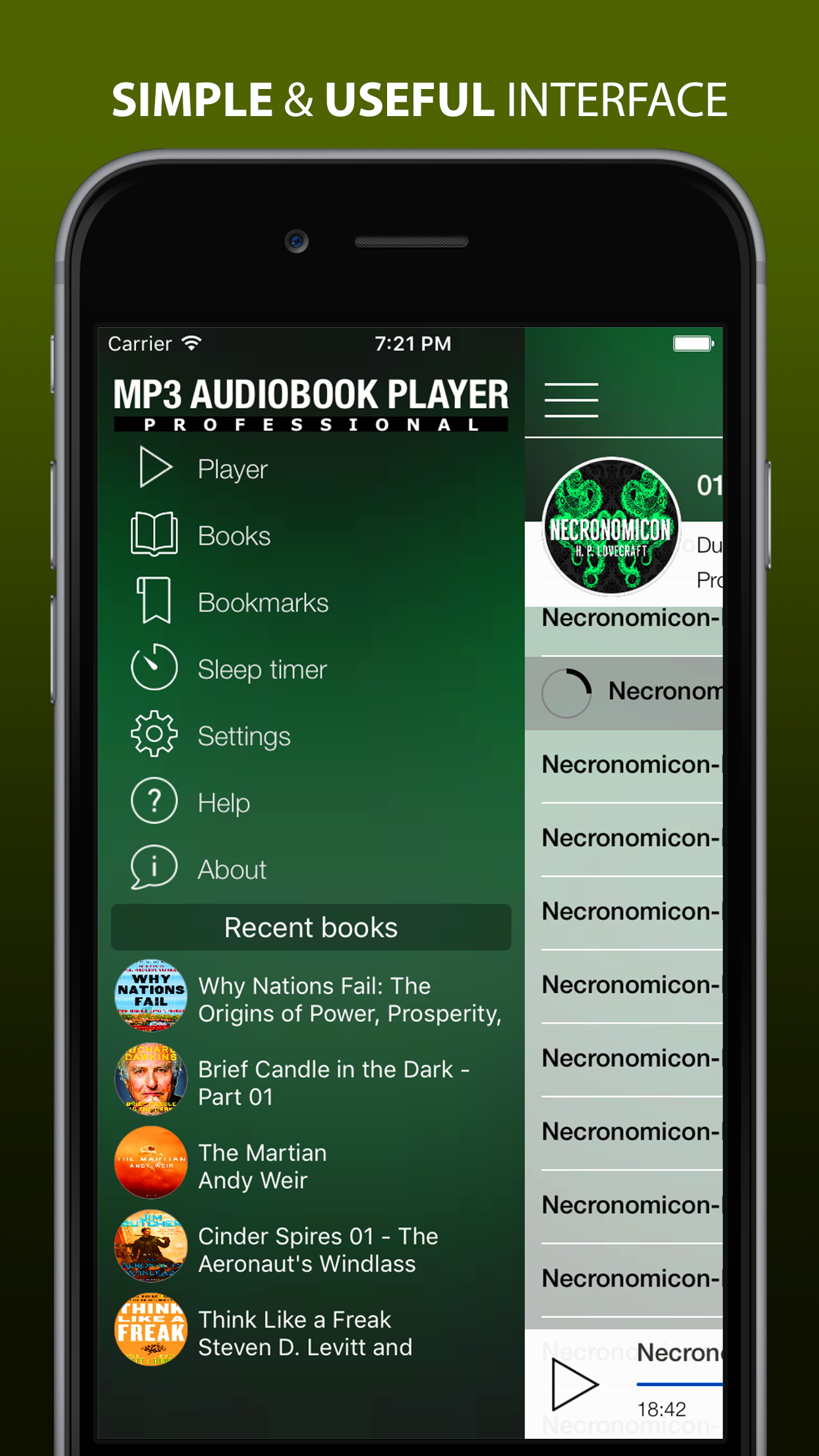 MP3 Audiobook Player is a convenient app for listening MP3