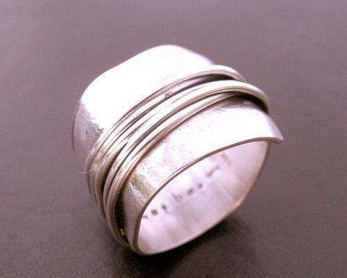 Schicksal gewickelt breites Band Sterling Silber Ring umschlossenen ...