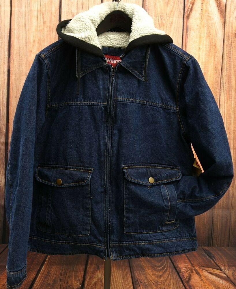 Wrangler Mens Heavy Rugged Blue Jean Work Fleece Jacket Cotton Hood Coat Sz Xl Wrangler Workjacket Mens Workwear Line Jackets Work Jackets [ 1000 x 818 Pixel ]