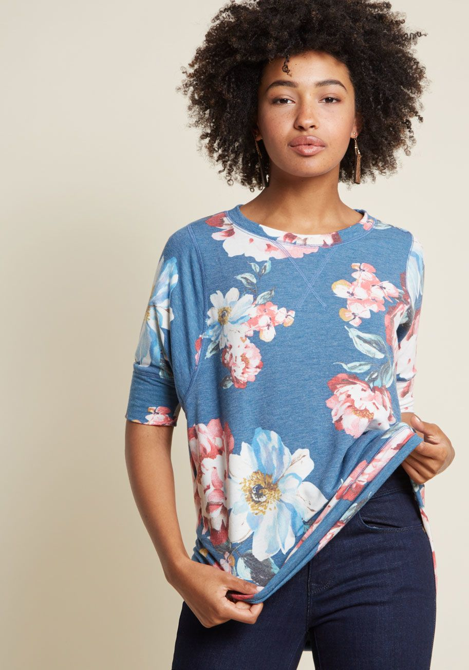 0b9b14ec7cb54b This heather blue top is always number one on your list of wardrobe  staples! A ModCloth exclusive complete with a high-low hem