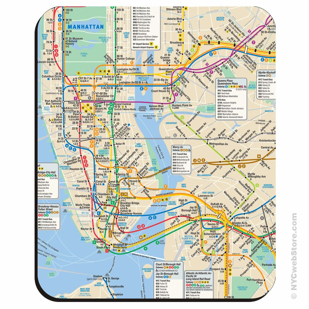 New York City Subway Mouse Pad Nyc subway map, Map of