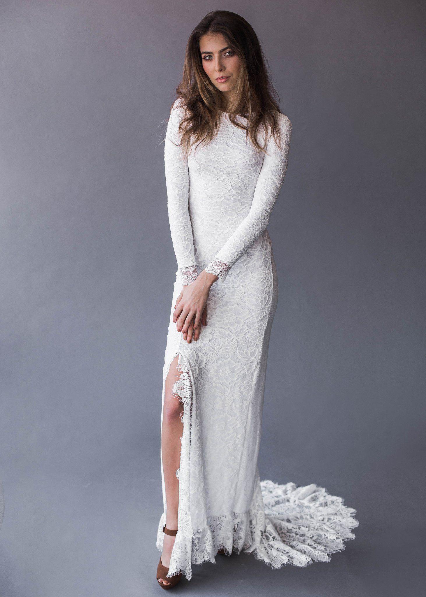 Grey lace wedding dress  Madelyn  Dress  Indie wedding dress Wedding dress bohemian and