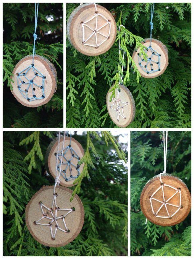 Holzarbeiten mit Kindern ideen-weihnachten-holz-scheiben-faden-sterne