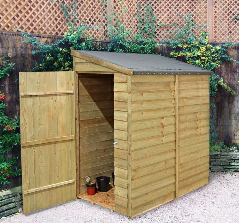 the 6ft x 3ft overlap wall shed is ideal storage space for small spaces or alleyways