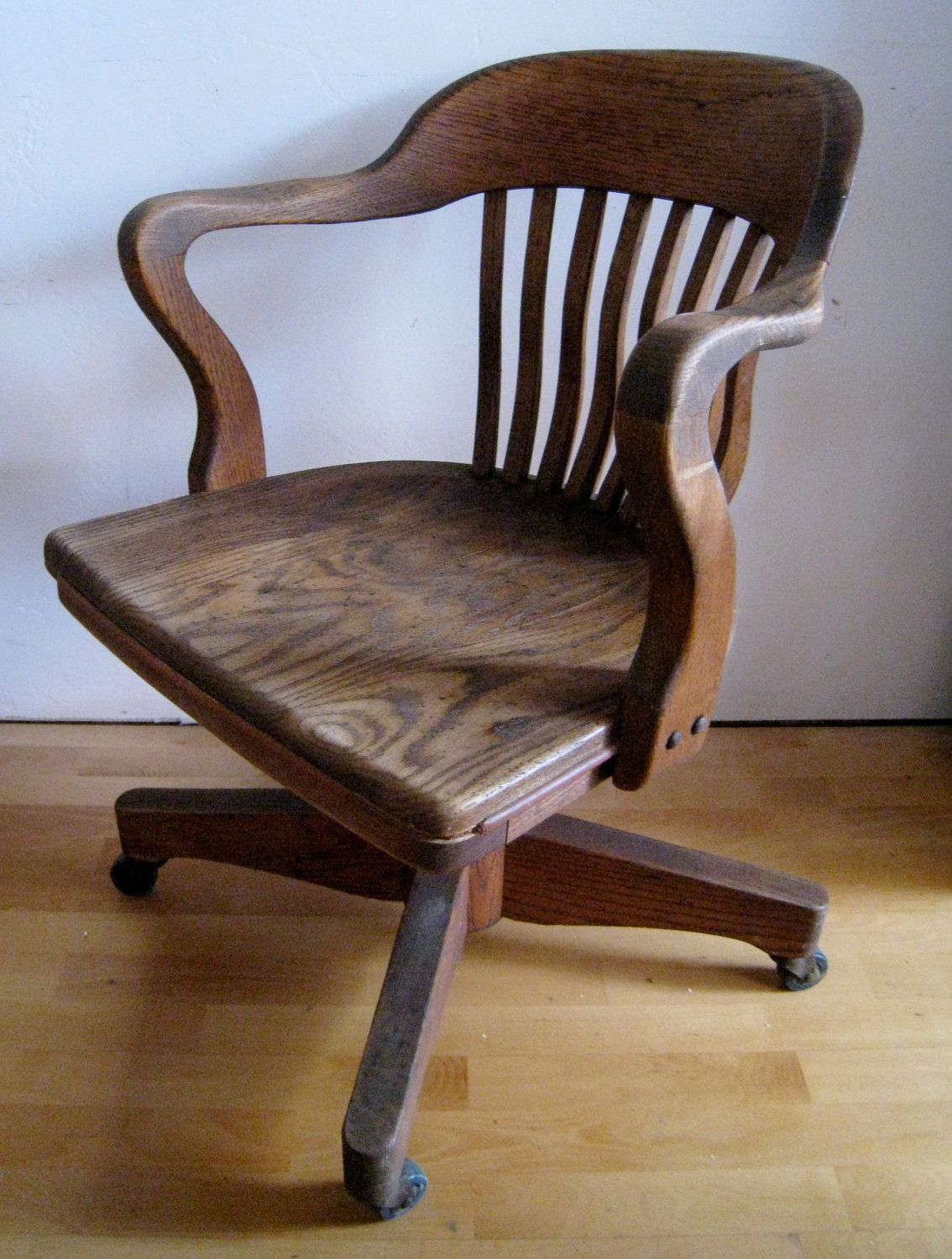 oak desk chair art deco swivel tilting rolling office chair