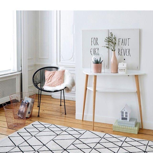 tapis noir et blanc graphique, decoration salon salon Pinterest