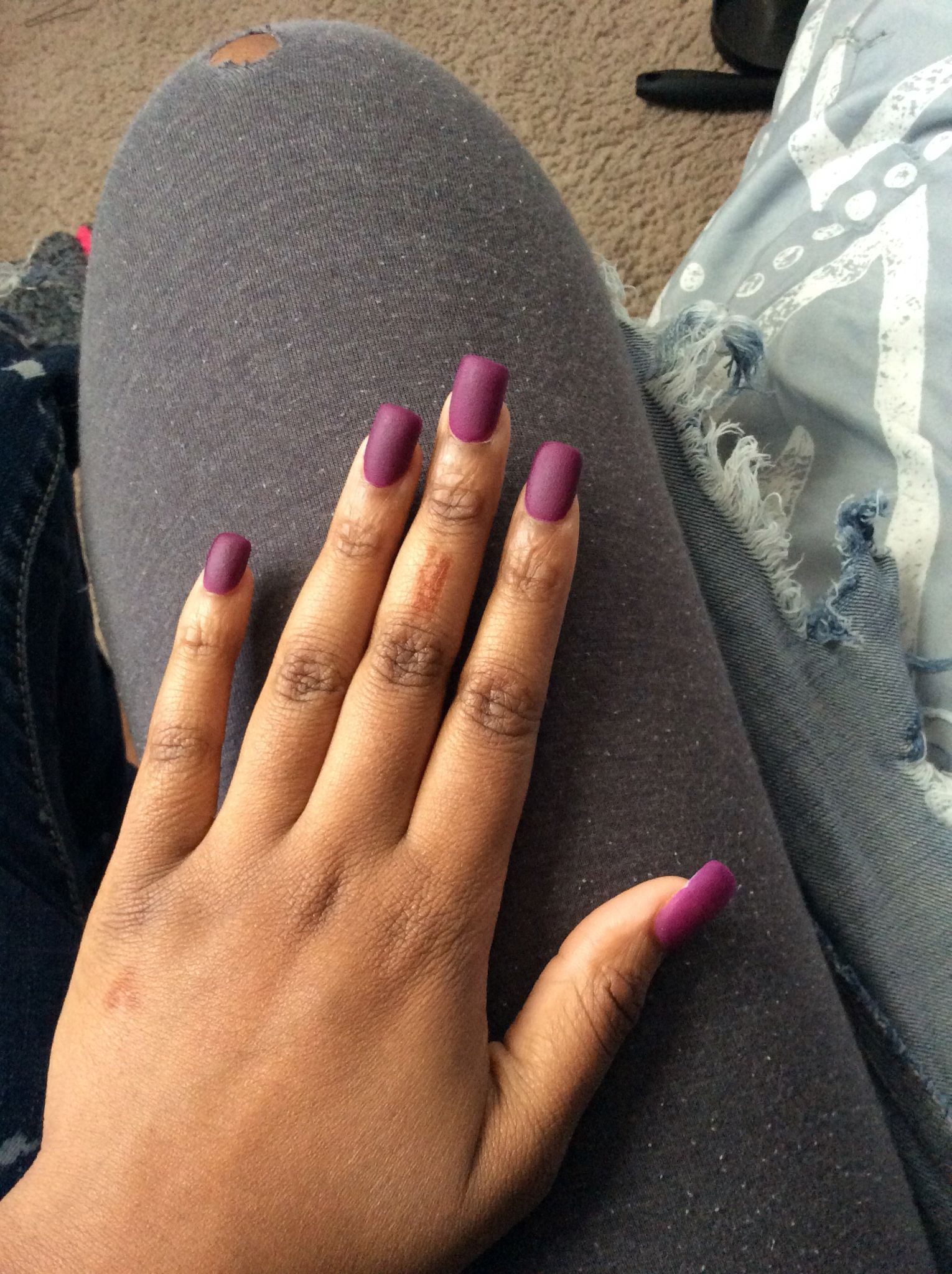 Matte Purple Acrylic Nails Fall Color Short Medium Length Coffin