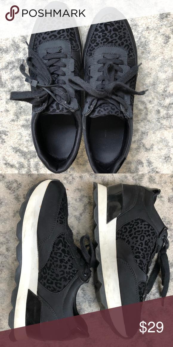 Black leopard tennis shoes | Tennis