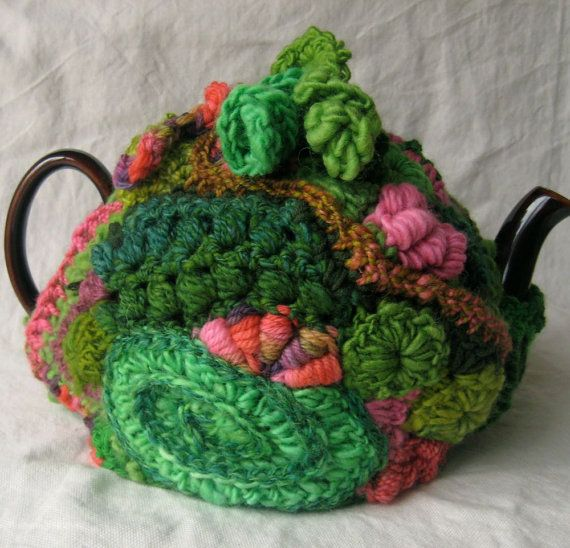 Tea Cozy in Freeform Crochet, Greens and Pinks,  by 2SistersStringworks, $55.00