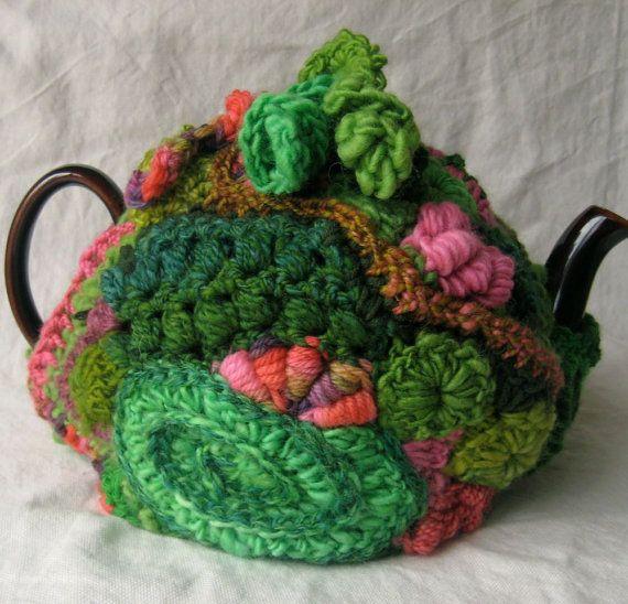 Tea Cozy in Freeform Crochet, Greens and Pinks,  by 2SistersStringworks, $55.00