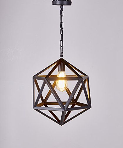"New Galaxy 1 Light Metal Geometric Pendant, 12"", Antique Black"