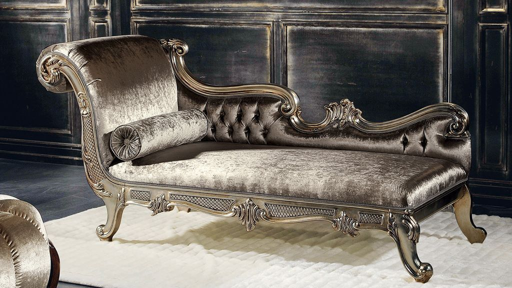 Cleopatra Italian Chaise Longue In Silver Leaf Modern