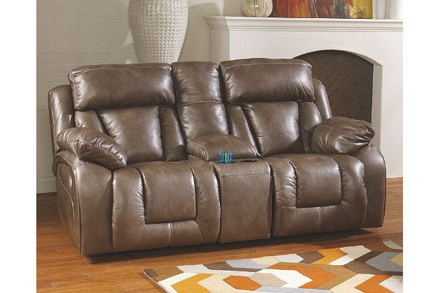 Miraculous Loral Glider Reclining Loveseat With Console By Ashley Uwap Interior Chair Design Uwaporg