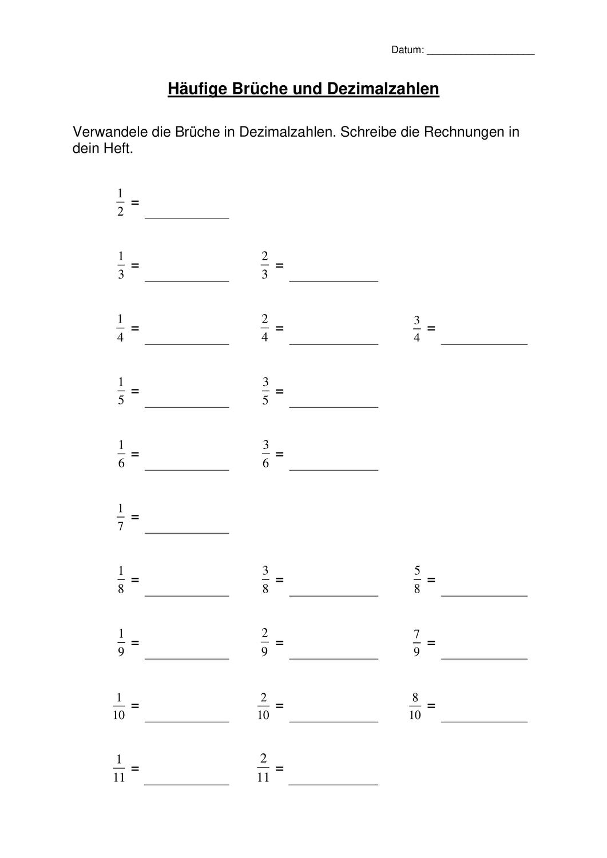 häufige Brüche und Dezimalzahlen – Unterrichtsmaterial im Fach ...