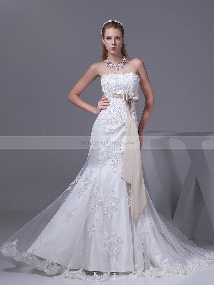 Trumpet style wedding dresses  Strapless Mermaid Wedding Gown with Sheer Appliqued Overlay