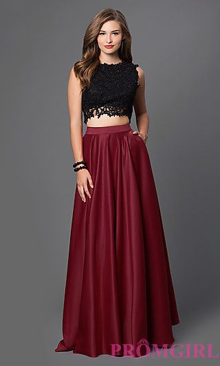 Embroidered Two Piece Prom Dress at PromGirl.com Vestido 2 Piezas db51bf7f55dd