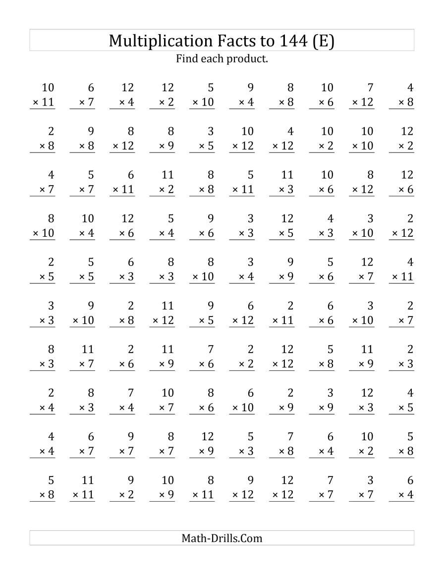 The Multiplication Facts To 144 No Zeros No Ones E Math Worksheet Fr Multiplication Facts Worksheets Math Multiplication Worksheets Multiplication Worksheets