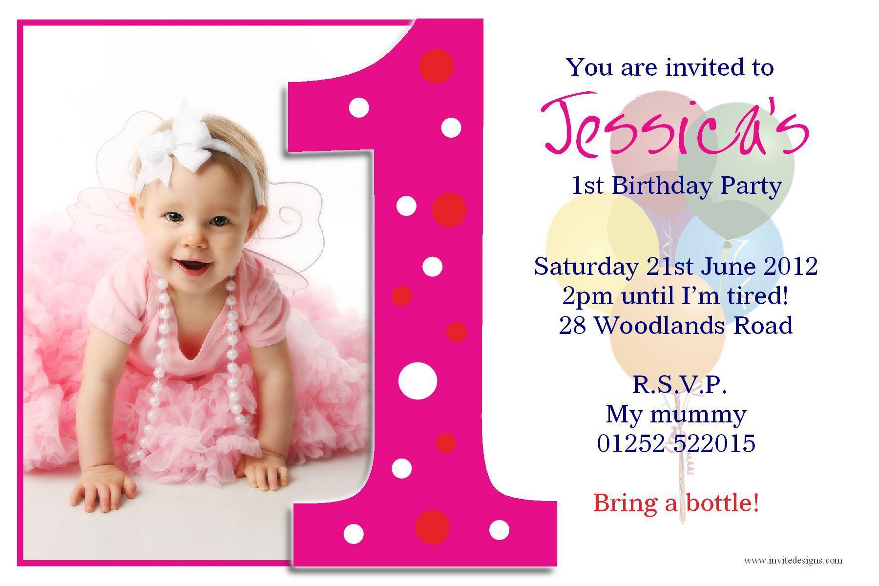 Birthday Invitation Cards India 1st Birthday Invitations Girl Photo Birthday Invitations Birthday Invitation Card Template