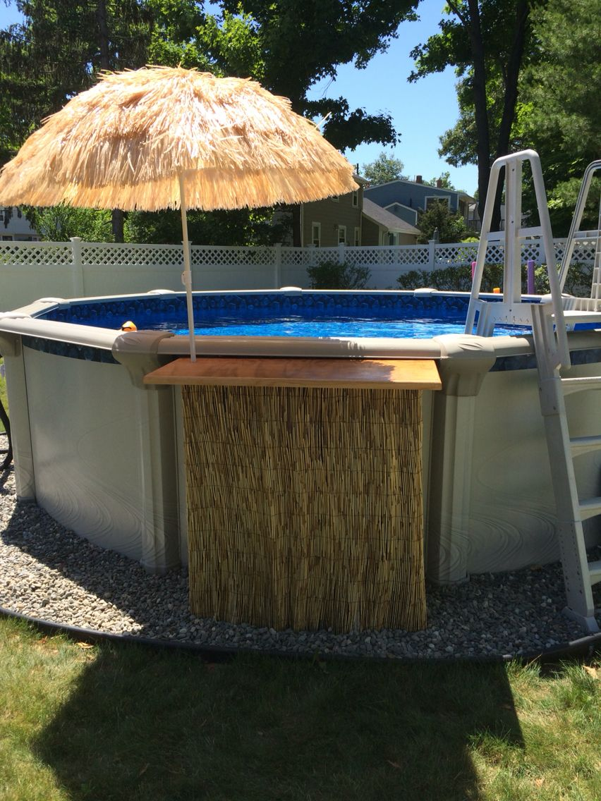 Thanks To Pinterest We Made Our Own Swim Up Tiki Bar Hasn T Even Been Up A W Swimming Pool Landscaping Above Ground Pool Landscaping Backyard Pool Landscaping Diy backyard swim up bar