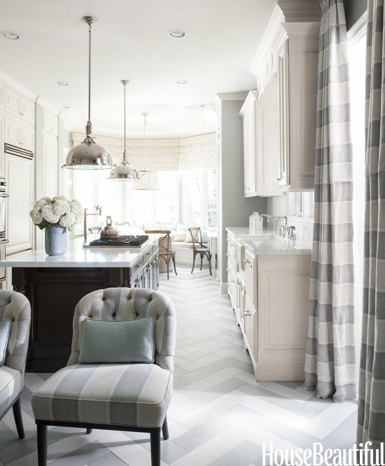 Gray kitchen, herringbone floor pattern.