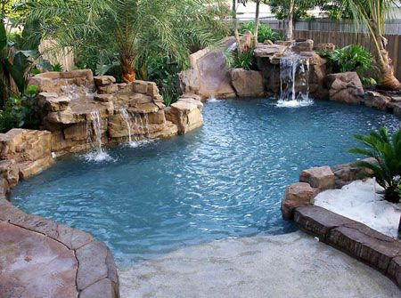 15 Pool Waterfalls Ideas For Your Outdoor Space Home Design Lover Backyard Pool Landscaping Pool Landscaping Pool Waterfall