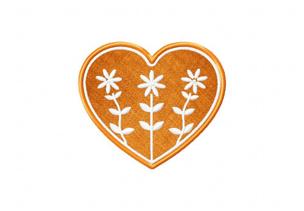 Orange Flower Folk Heart Available In Both Applique and Stitched